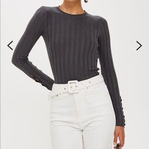 NWOT TOPSHOP Ribbed Button Long Sleeve Top